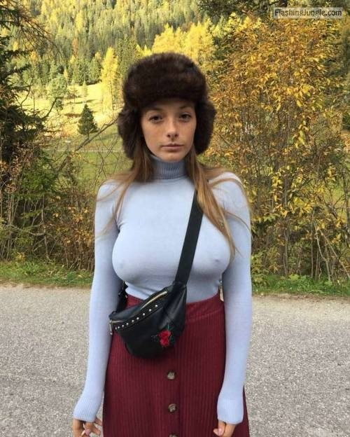Skinny girl big tits and pokies under turtleneck   she is all cowed, its cold outside pokies pics