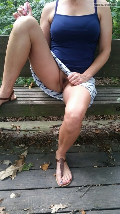 Mature hairy cunt flashing on park bench no panties