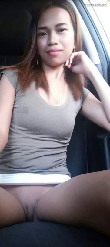 Skinny asian girl driving pantyless no panties