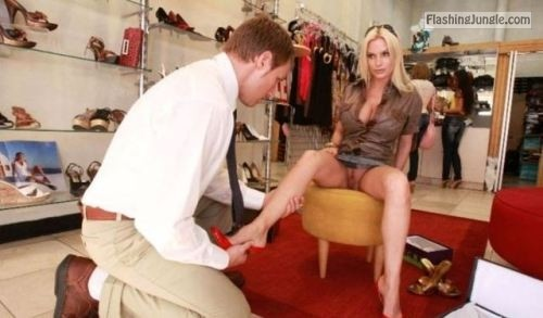 My blonde luxury hotwife is pantieless at shoe store flashing store