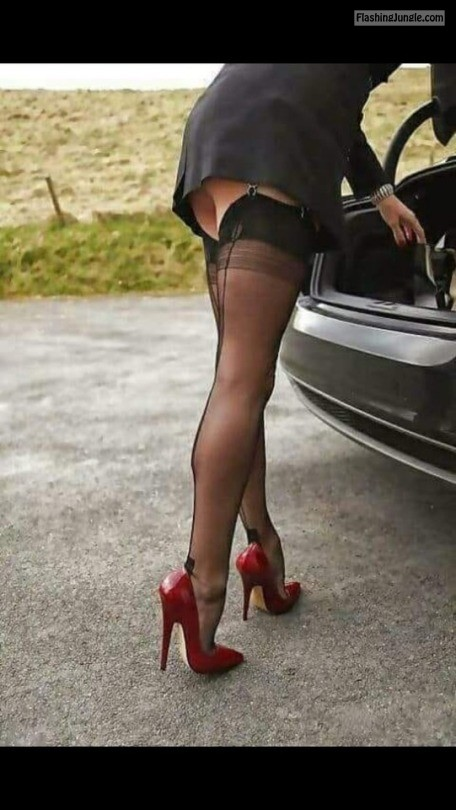 "ffcubanheel: Perfectly sexy and classy FF Cuban heel stockings and 6"" red high heel pumps 👠❤️💋🔥🔥🔥🔥🔥 public flashing"