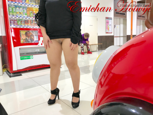 Emichanhotwife knickerless in high heels upskirt pussy flash public flashing no panties milf pics howife