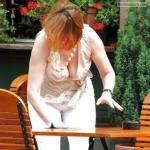Waitress downblouse cleavage