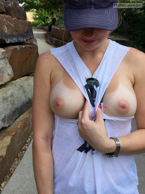 perfect pale tits tanlines nipples Boobs Flash Pics ...