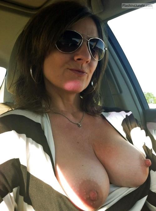 Sunglasses Boobs Out Driving Car Boobs Flash Pics, Milf -7477