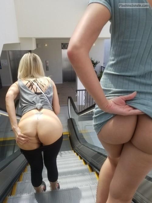 2 Hotties Escalator Ass Flash Pics, No Panties Pics -9407