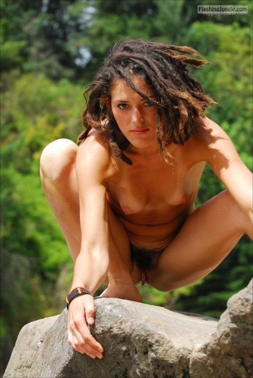 Exotic Jungle Girl Caught Naked On Rock Public Nudity Pics -8028