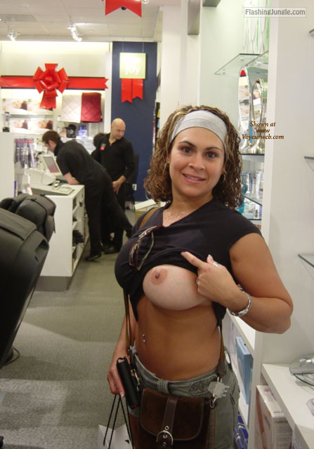Girls flashing tits in stores