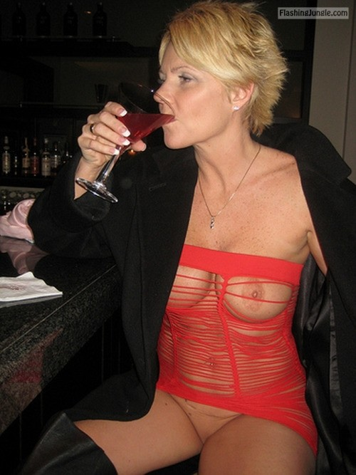 Sexy granny red dress strips juicy pussy cums