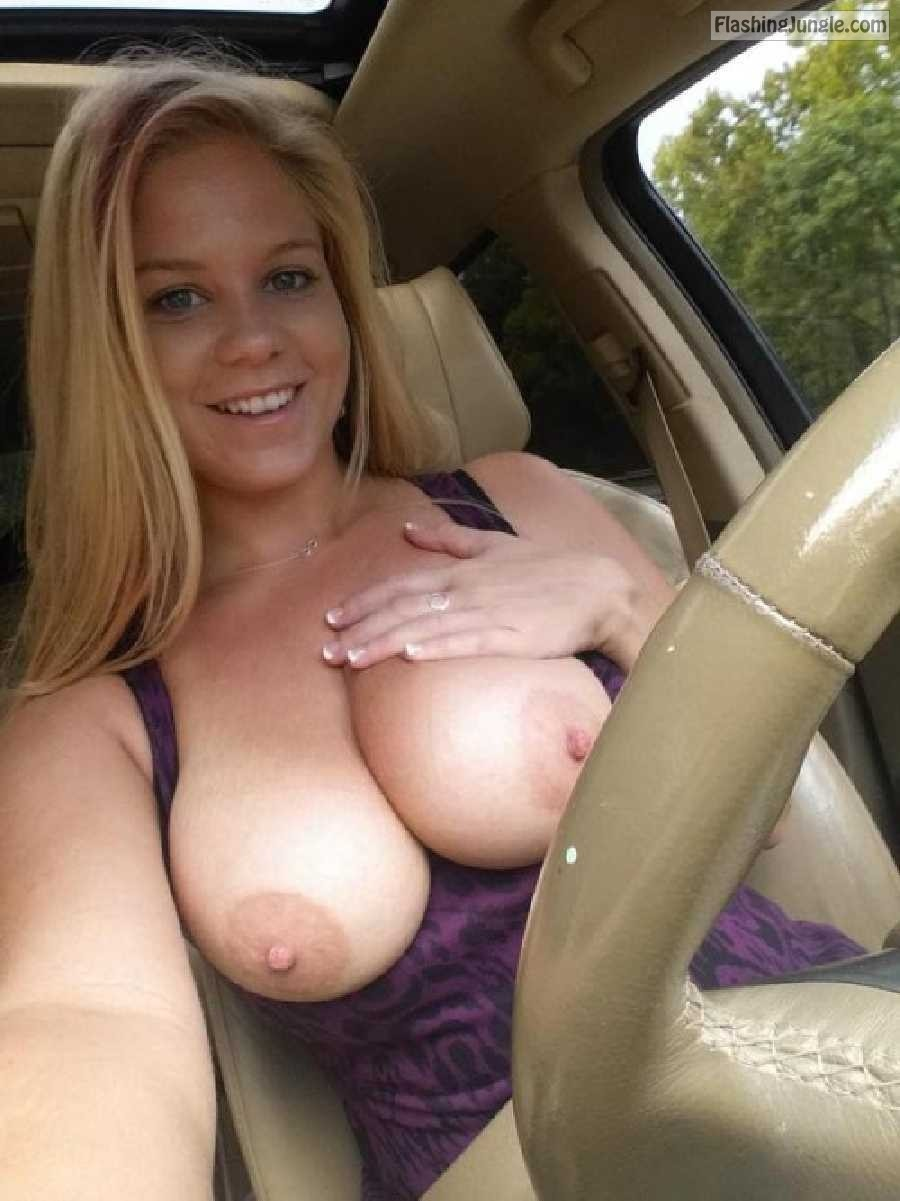 Driving Car With Massive Natural Tits Exposed Boobs Flash -5967