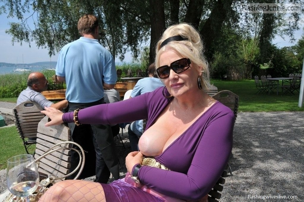 Slut wife flashing in public