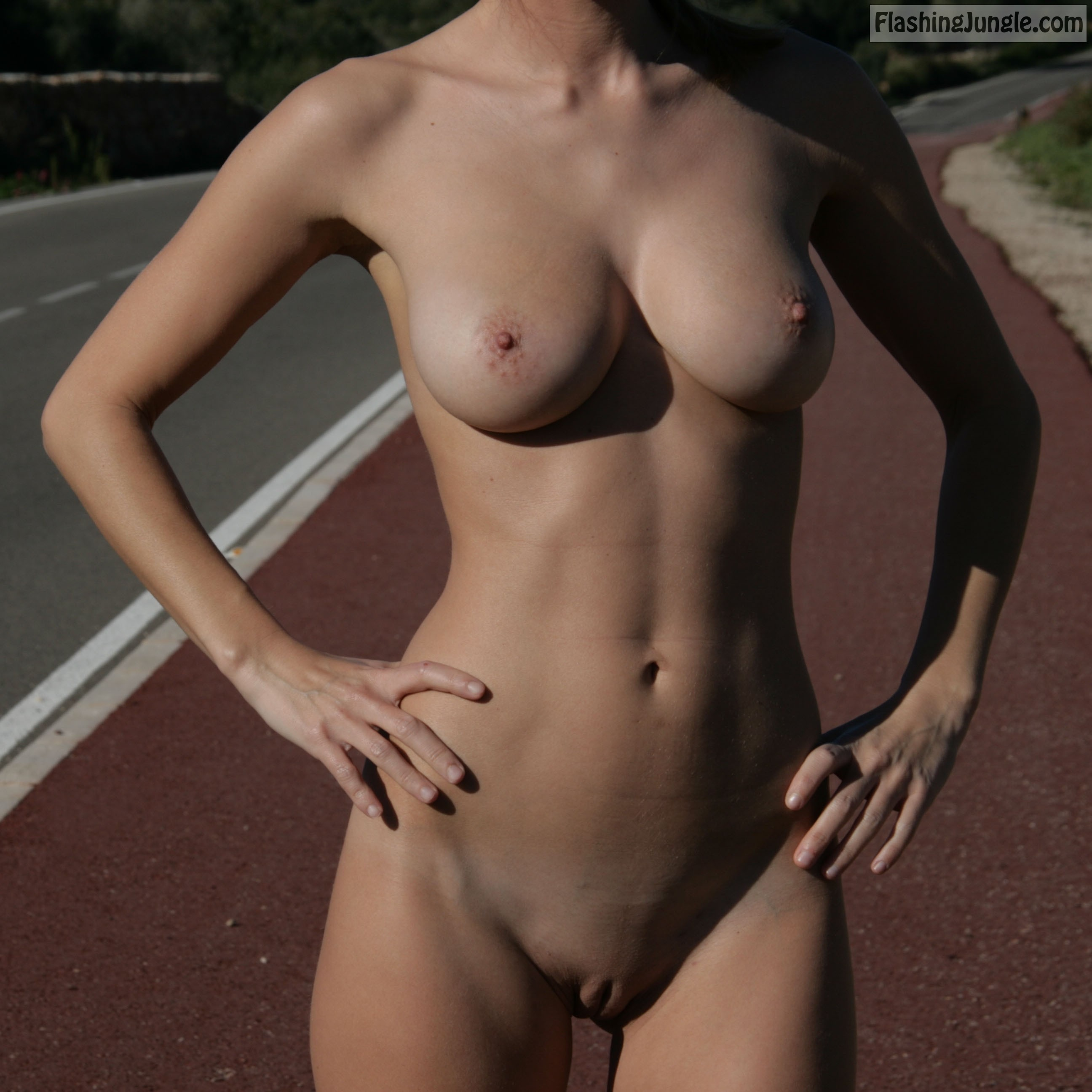 Nude beauty on roller skates in public public nudity