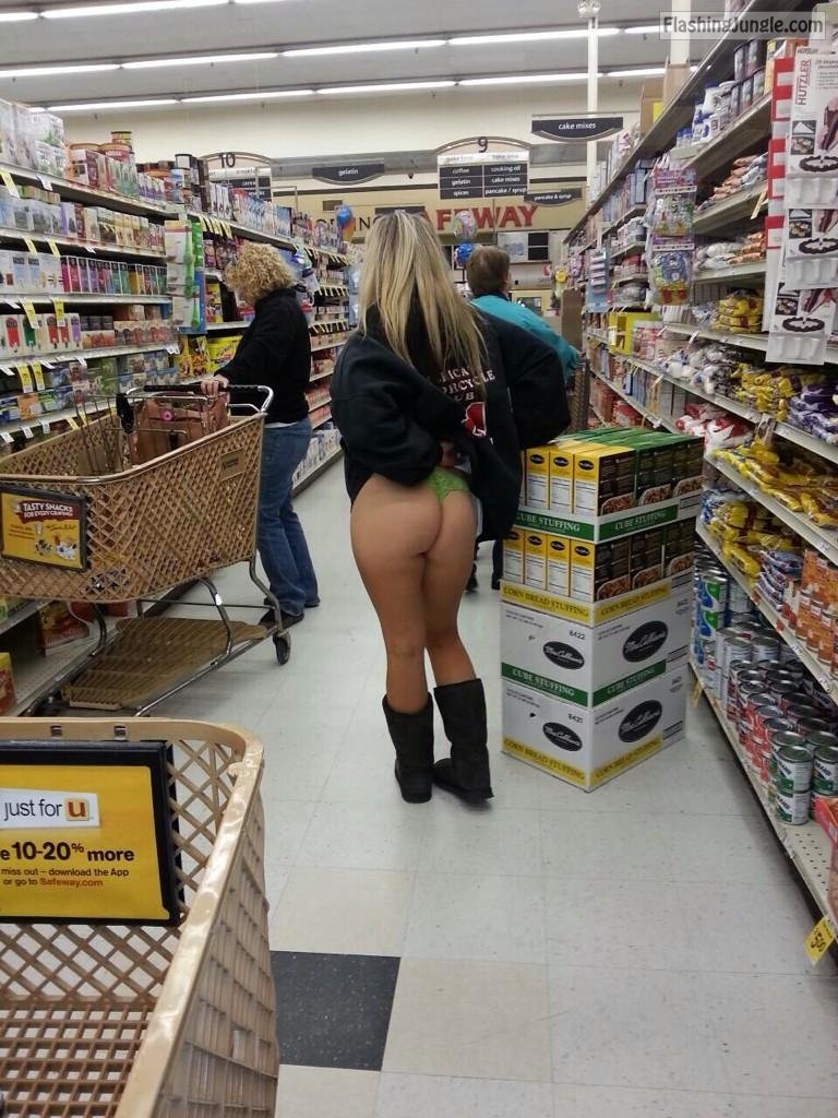 blonde flashing green panties in public store ass flash pics