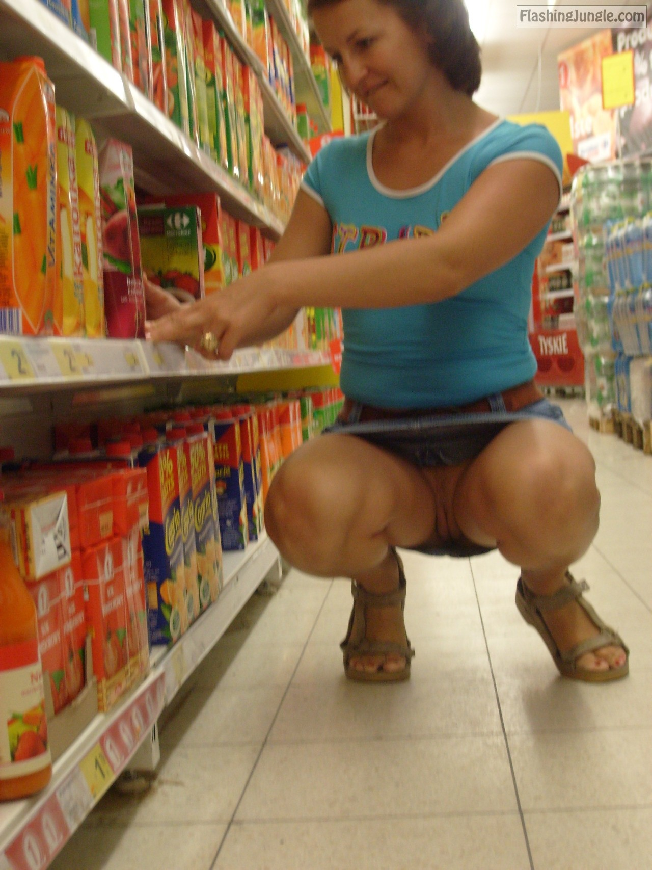 wife flashing in store