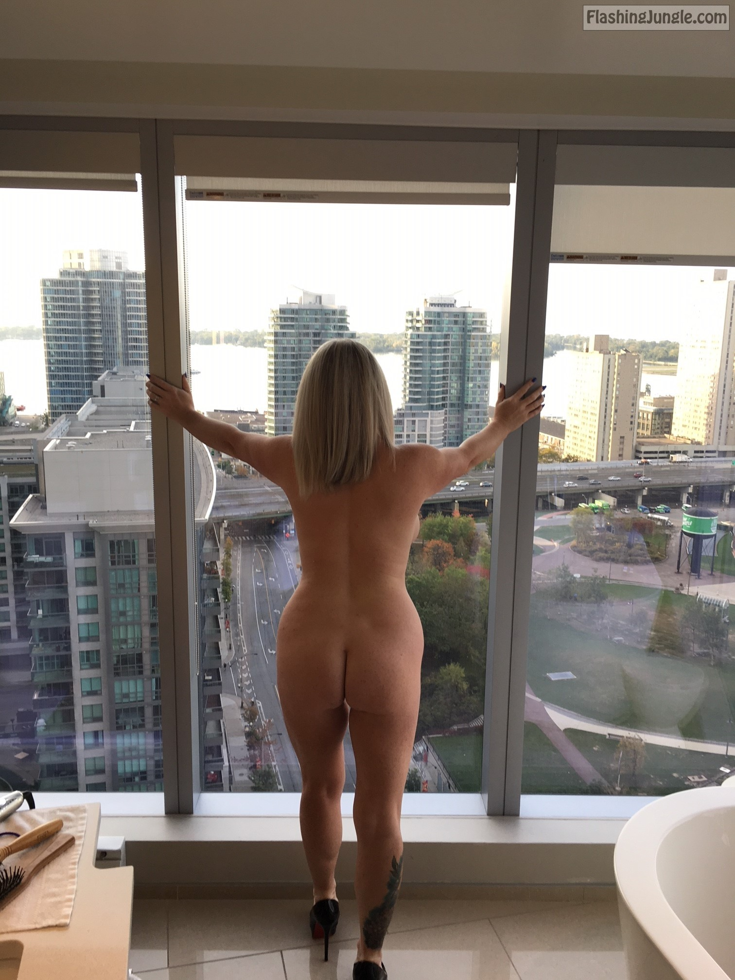 wife window Amateur nude of in front