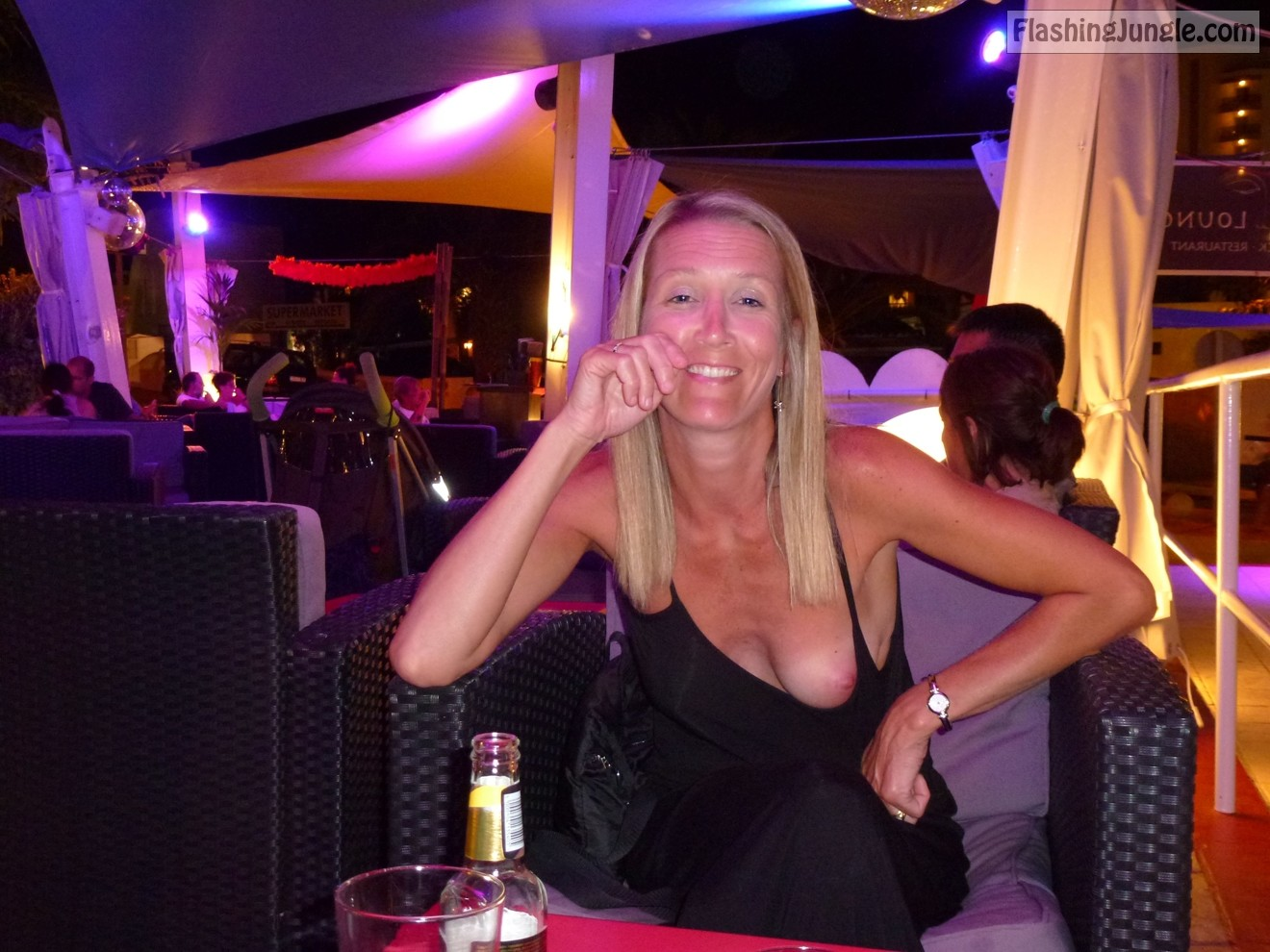 On mature wife vacation bikini in