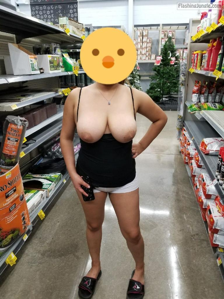 Wife flashing juicy natural boobs in walmart public flashing milf pics howife flashing store boobs flash