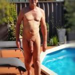 Backyard massive cock nude walk by the swimming pool – True nudist 8