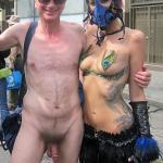 Sexy girl with nudist Brucie Folsom Street Fair CFNM
